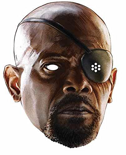 The Avengers - Nick Fury Papp Maske, aus hochwertigem Glanzkarton mit Augenlöchern, Gummiband - Größe ca. 30x20 cm