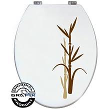 Pegatinas para tapa WC, diseño bambú, 2piezas, color beige/marrón, vinilo
