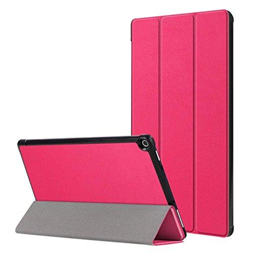Gusspower Hülle für Das neue Kindle Fire HD 10 Tablet (7th Gen - 2017 Release) - Slim Folding Kunstleder Ständer Smart Cover mit Auto Wake / Sleep für All-New Amazon Fire HD 10,1 Zoll Tablette (Pink)