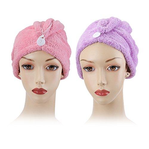 Shintop pelo toalla de secado, Premium rápido tiempo de secado turbante cap wrap de pelo para reducir el pelo secado de microfibra para bañera, Spa, maquillaje (rosa + morado)