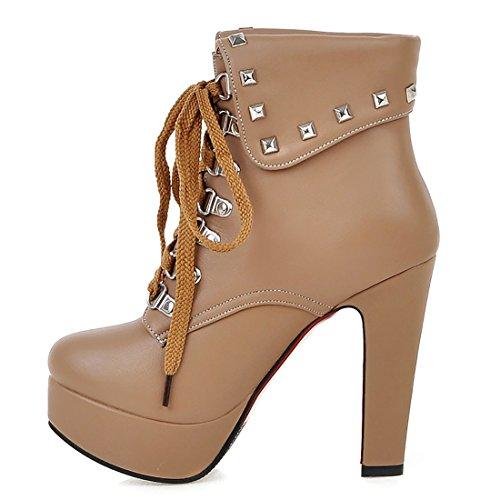 UH Femmes Bottines à Talons Hauts Bloc Chaussures avec Fourrure Bout Rond de Lacet avec Platefoemr en Fashion pour L'hiver Abricot