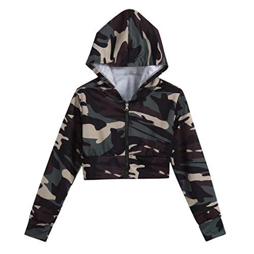 iHENGH Sweatshirt, Damen Fashion Camouflage Print Shirt Lange Ärmel Bluse Kapuzen kurzen Pullover -