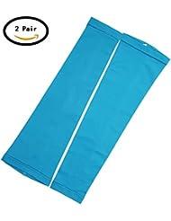Moolecole 2 Piezas Hielo Seda Protector Solar Cuffs Largo Mangas Ride Anti-UV Amparar Brazo Conjuntos Azul L