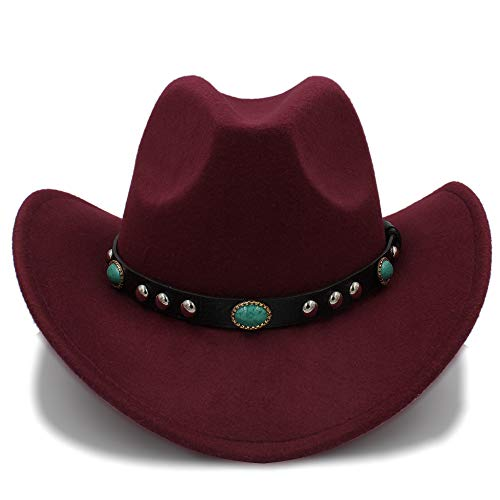 Kostüm Cowgirl Leicht - Neuer Cowboy-Hut-Jazz-Hut-Ankunfts-Mode-Cowboyhut für Frauen-Partei-Kostüme Cowgirl Roll Up Hat, leicht, atmungsaktiv (Farbe : Weinrot, Größe : 57-58 cm)