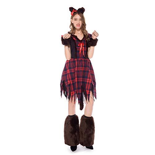 kMOoz Halloween Kostüm,Outfit Für Halloween Fasching Karneval Halloween Cosplay Horror Kostüm,Maskerade-partytierfuchs des Halloween-kostüms Weibliches Rollenspiel des - Weibliche Kostüm Horror