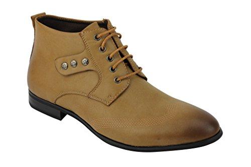 Nuovo da uomo nero in pelle sintetica marrone Designer Italiano Smart Casual Derby alla caviglia con lacci scarpe Tan