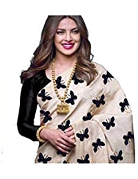 F 4 FASHION Women's Chanderi Cotton Embrodered Butterfly Saree With Blouse Piece (Multi Colors_Free Size)