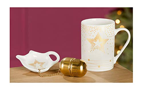 Handwerk Teetasse mit Teeei und Schälchen Sterne weiß Gold Porzellan 3er Set