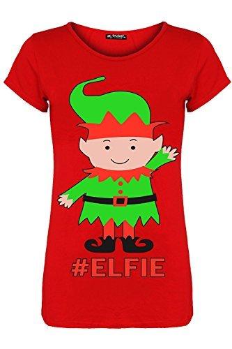 Be Jealous Damen Weihnachten Geschäftet Gingerbeard Rentier Candy-stick Schneeflocken Damen Weihnachten Flügelärmel T-shirt Top Elfie Rot