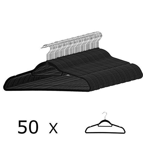 50 Anzugbügel Kleiderbügel mit rutschfester Samt-Oberfläche