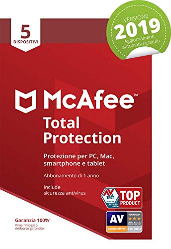 McAfee Total Protection 2019 | 5 Dispositivi | Abbonamento di 1 anno | PC/Mac/Smartphone/Tablet