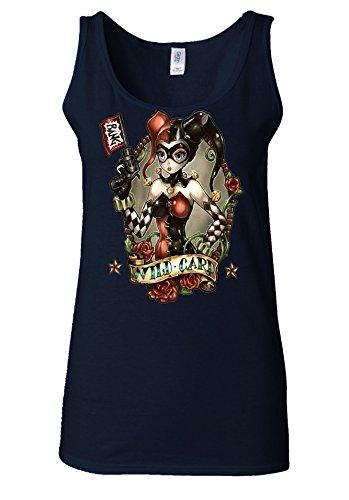Faith's Shop Harley Quinn Joker Wild Card Joker Navy Women Vest Tank Top-XXL