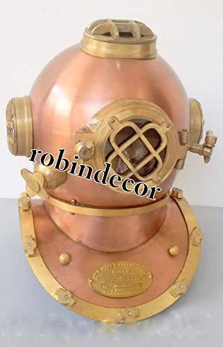 Robin Exports US Navy Diving Divers Helmet Antique Vintage Copper & Brass Finish Solid Steel Divers Diving Helmet -