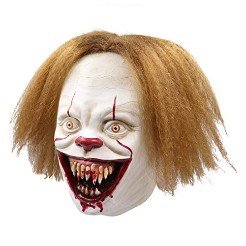 Zubehör Blonde Kostüm - 2019 IT Adult Clown Maske Stephen King Scary Halloween Maske mit großem Mund und goldenem Haar Latex Cosplay Kostüm Zubehör Horror Helm,A