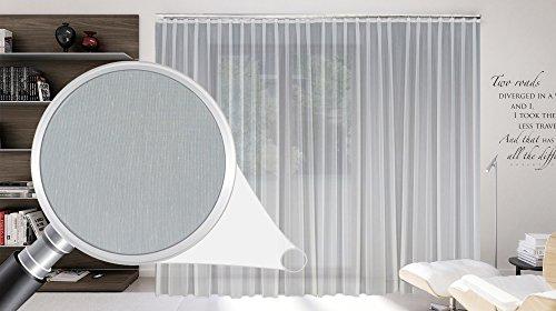 Maßgeschneiderte weiße Batist Store Gardine, inklusive Blei und Automatik Faltenband 1:2,5, 3er Falte, Gardinen nach Maß, Vorhang nach Maß, Höhe 90 – 295 cm(90 x 200 cm /HxB)
