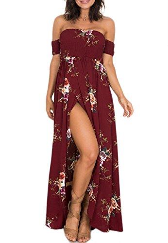 menmuster Kleid Gemustert Schlitz Chiffon Party Lange Kleid Burgund 3XL (Teen Girl Kleid)