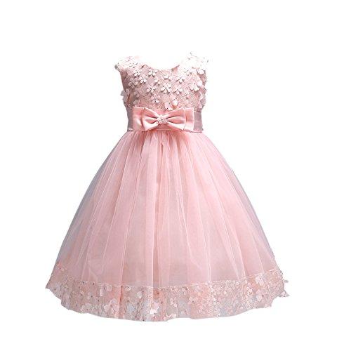 Brightup Sommer Kleider Mädchen Kleid Frühlings Kleid Partei Spitze Kleid (Gestickte Spitze Taufe Kleid)