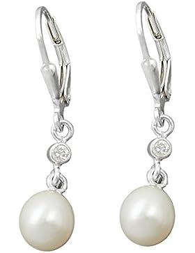 Unbespielt Ohrstecker Brisur Perle mit Zirkonia für Damen 925 Silber 33 x 7 mm inklusive Schmuckbox Ohrschmuck...