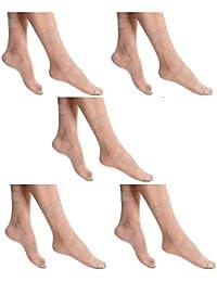BLINKIN Women's Nylon Ankle Length Skin Ultra-Thin Transparent Summer Socks - Pack of 5
