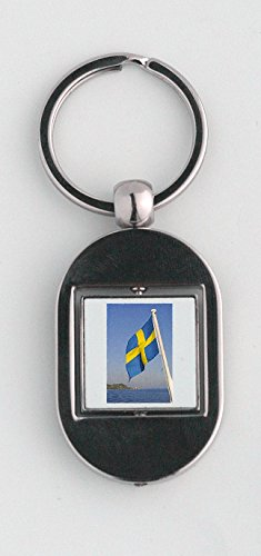 key-ring-with-the-swedish-flag-on-a-boat-on-oresund-strait-ven-island-in-background-sweden