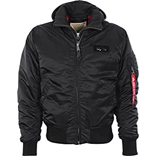 Alpha Industries Men's MA-1 D-Tec Bomber Jacket, Schwarz Black 515, Large