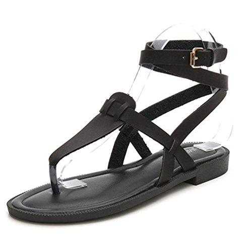 Damen Faux Leder Flip Flop Sandalen Bequeme Peep Toe Knöchelband Casual Flat Sandale Schuhe (Kette Kette Sandale Thong)
