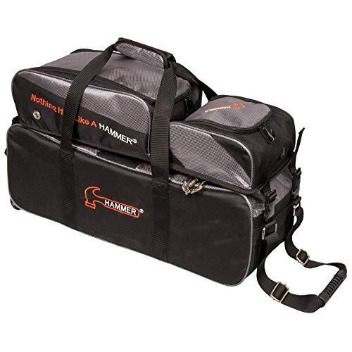 HAMMER Premium Deluxe Triple Tote mit abnehmbarem Tasche Bowling Bag, Schwarz/Carbon -