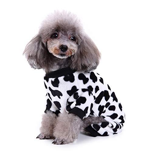 GEZICHTA Pro Hund Katze Pyjama mit süßem Milchkuh-Muster und Vier Füßen Design Haustier Hund Mantel Jacke Kostüm Frühling Winter Pyjama Mantel Overall für Kleine mittelgroße Hunde