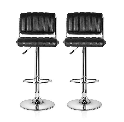hjh OFFICE 685975 taburete de bar RETRO (lote de 2 taburetes) piel sintética negro, base cromada, con respaldo, buen acolchado, muy cómodo, estable, fácil de limpiar, con ajuste de altura, elegante, silla giratoria