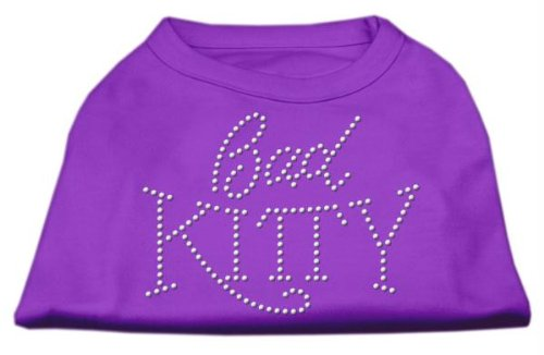 Mirage Pet Products-Bad Kitty Rhinestud Print Shirt für Haustiere, X-Small, Violett -