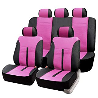 eSituro universal Auto Schonbezug Komplettset Sitzbezüge für Auto aus Kunstleder schwarz/pink SCSC0087
