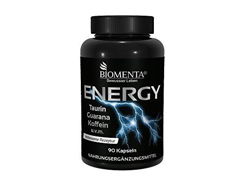 BIOMENTA® ENERGY BOOSTER | mit TAURIN + GUARANA + KOFFEIN + GRÜNTEE + B-Vitamine + VITAMIN C + MAGNESIUM | 90 Koffein-Tabletten | VEGAN | Für aktive Frauen & Männer