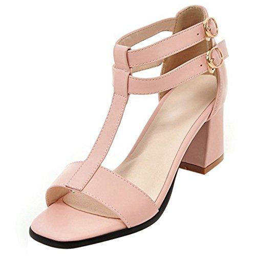 COOLCEPT Damen Mode T-Spangen Sandalen Open Toe Blockabsatzs Schuhe Rosa