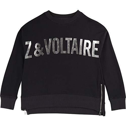 Zadig & Voltaire Sweatshirt mit Metallic Print und Zippern schwarz Silber Groesse 12 Jahre Metallic-print-sweatshirt