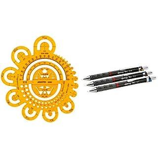 Aristo Abrundungsschablone (mit verschiedenen Radien und Symbolen) transparent gelb & rOtring 801310 Tikky Druckbleistift (black Barrel, 3-teiliges Set)