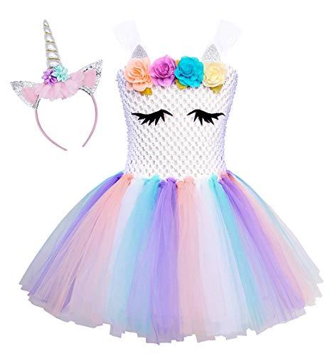 AmzBarley Costume da Principessa in Tulle con Bambine e Unicorno per la Festa di Compleanno (8-9 Anni, Bianco 2)