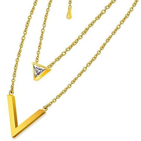 Schmuck Frauen Halskette schicke Y-förmige Design, 18 K Gold Plated Edelstahl mit (Kind Aurora Ballerina)