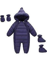 MissChild Schneeanzug Baby Jungen Mädchen, Daunenanzug Strampler mit Kapuze Quilted Pramsuit Outdoor Overall Winter Snowsuit Outfit Mantel