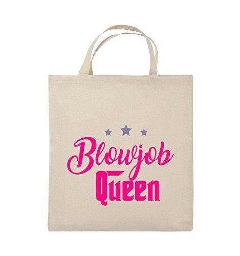 Comedy Bags - Blowjob Queen - Jutebeutel - kurze Henkel - 38x42cm - Farbe: Schwarz / Weiss-Neongrün Natural / Pink-Violet