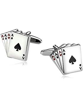 Aooaz 1 Paar / 2 Stück Herren Manschettenknöpfe Edelstahl Poker A Silber Verlobung Manschettenknopf 1.8 x 1.5cm