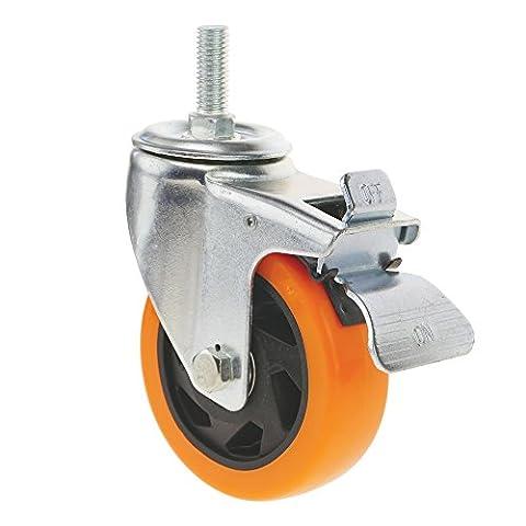 Cablematic - Roulettes pivotantes roue industrielle en polyuréthane avec frein 100 mm M12