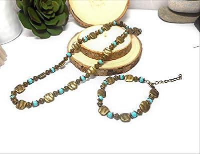Parure collier bracelet style ethnique bronze et turquoise par breloques et cie