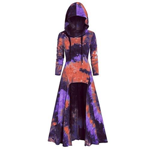 Damen Mittelalter Umhang Kleid mit Kapuze Halloween Cosplay Kostüme,Frauen Tie dyeing Hoodie Langarmshirts Partykleid Große Größen Renaissance Cloak Bluse S-3XL (Herren Kapuzen Jäger Kostüm)