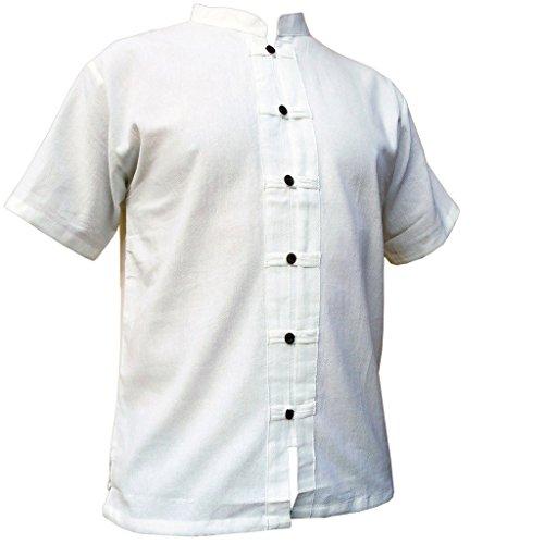 PANASIAM Fisherman Hemd, RZI-01, weiss, XXL, kurzarm (Bio-kleidung Männer)