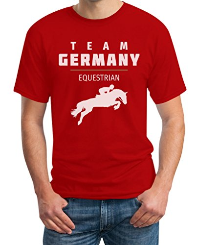 Pferde Springreiten Team Germany - Olympischer Fanartikel T-Shirt Rot