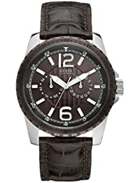 Guess Herren-Armbanduhr Analog Quarz Leder W11596G1