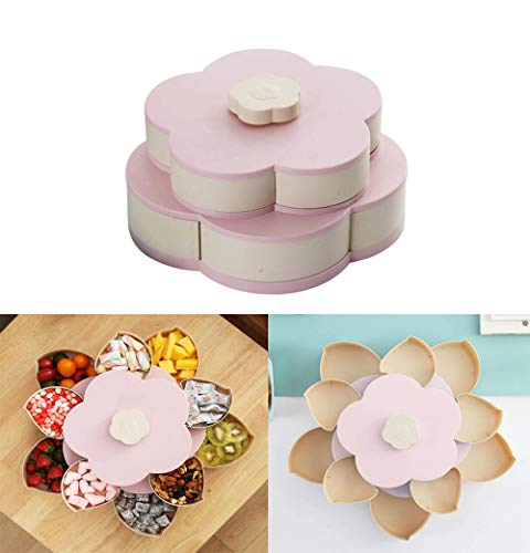 Volwco Blumen-Form drehbarer Deckel Candy Box Kreative Rotary Switch Storage Teller Home Snacks Trennwand Organizer Box Party Hochzeit Candy Tray Rose Rose Snack