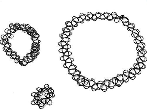 fablcrew Halskette Armband Ring Set Tattoo Choker Stretch Stil Retro Henna Vintage Kette Schwarz