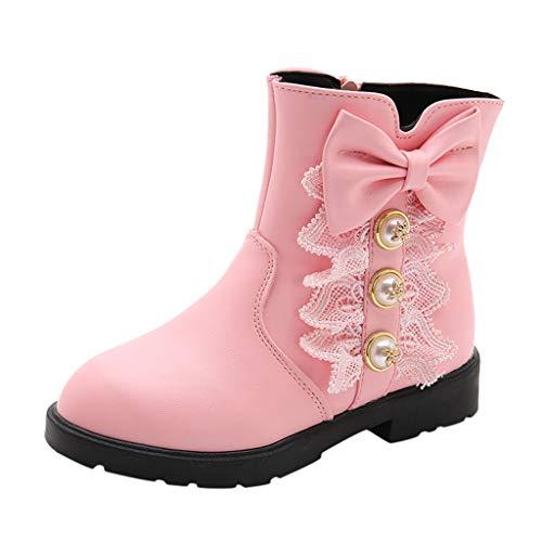 Cuteelf Kinderschuhe Baby Prinzessin Bogen Schuhe Mode Stiefel Herbst und Winter Neue koreanische Version der großen Kinder Plus Samt rutschig Mädchen Schneeschuhe Mädchen Stiefel (Prinzessin Bogen Winter)