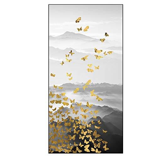 zlhcich Moderne Neue chinesische Veranda hängen Gemälde dekorative Malerei vertikale Version von Licht Tinte Landschaft Elch JC-114 (2) 60x120cm